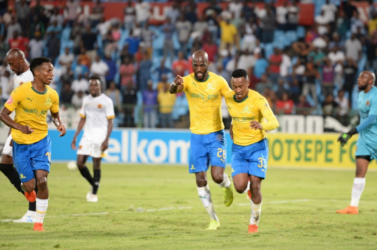 Lebohang Maboe celebrates scoring a goal with Thamba Zwane and Anthony Laffor of Mamelodi Sundowns during the Absa Premiership match between Mamelodi Sundowns and Black Leopards at Loftus Stadium on February 06, 2019 in Pretoria, South Africa.