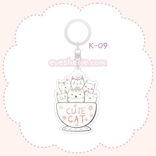 พวงกุญแจอะคริลิค ลายแมวในถ้วย พวงกุญแจลูกแมว