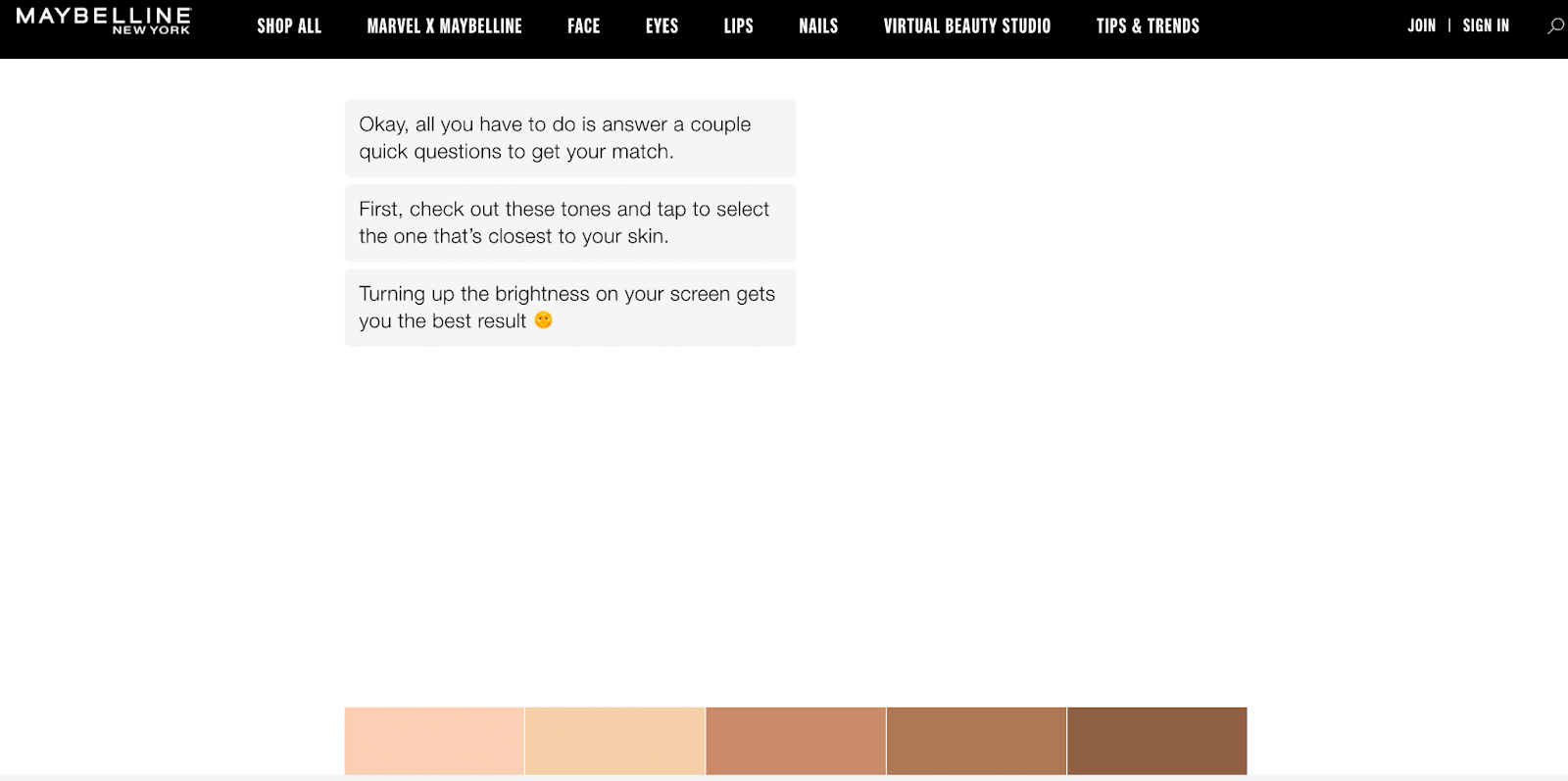guided selling examples maybelline 2