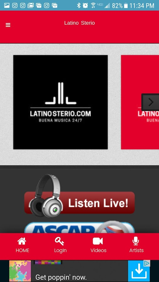Latino Sterio App- screenshot
