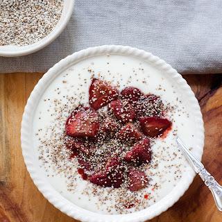 Homemade Yogurt with Roasted Strawberries & Toasted Amaranth