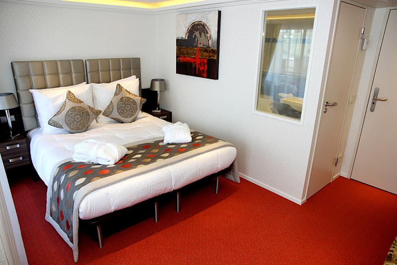 A stateroom on the luxury ship AmaKristina.