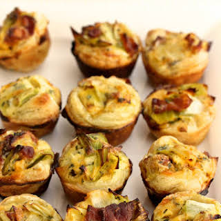 Bacon, Leek, and Cheddar Mini Quiches.