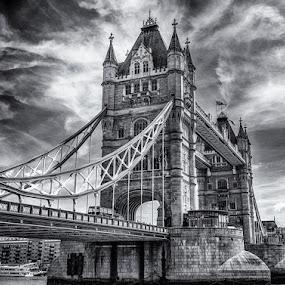 Tower Bridge in B&W by David Pilasky - Travel Locations Landmarks ( landmark, england, london bridge, tower bridge, bridge, united kingdom )