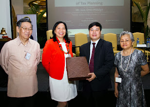 Photo: 22 August 2013 - General Monthly Meeting of FINEX. Bach Nguyen receives a token of appreciation from FINEX-Philippines presented by Victor Lim, Judith Lopez and Conchita Manabat