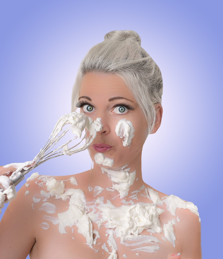 Clean up can be tricky after covering yourself in fresh cream.