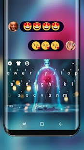 Love Keyboard Neon Glass Cage Theme - náhled