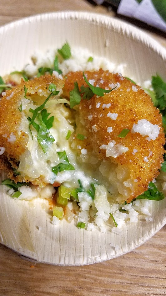 Feast PDX 2016 Night Market dish from Erik Van Kley from Taylor Railworks (Portland, OR): Arancini Ranchero with delicious burrata inside