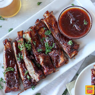 Slow Cooker Pork Ribs with Bourbon BBQ Sauce.