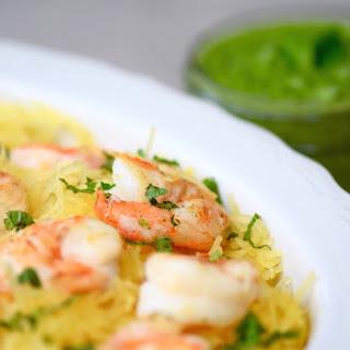 Spaghetti Squash Shrimp Pesto.