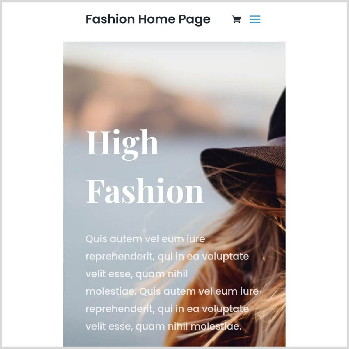 Homepage template Divi