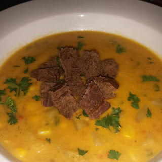 Cajun Corn Chowder With Pumpernickel Croutons