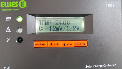 Photo: [Device replaced with a Victron unit now] Solar Charge Controller showing the temperature at 24 degrees Centigrade