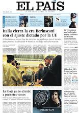 """Photo: Algunos de los titulares de nuestra portada para el sábado 12 de noviembre: """"Italia cierra la era Berlusconi con el ajuste dictado por la UE"""", """"La UE propone que los Estados avalen emisiones de la banca conjuntamente"""", """"La Rioja ya no atiende a pacientes vascos"""". http://www.elpais.com/static/misc/portada20111112.pdf"""