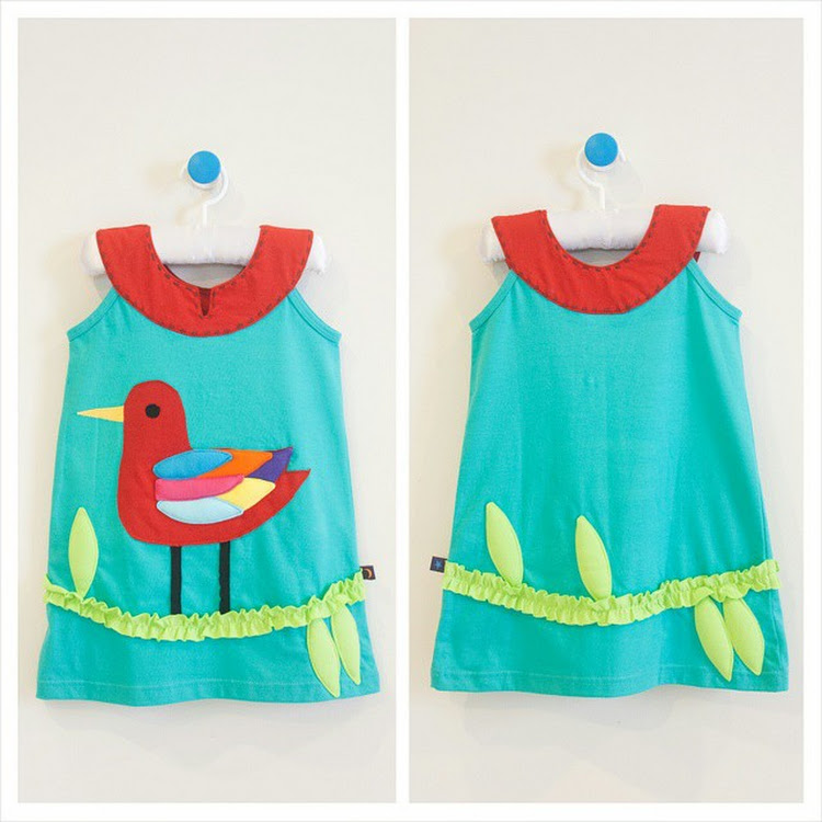 Star Moon Rainbow Seagull Dress in Turquoise (2 years)