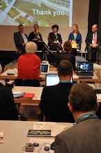 """Photo: """"Communicating Science & Innovations"""" Panel - 2012: M. Cleassens, M. Satherstrom, N. Buitelaar, A. Gravier, H. Kunz"""