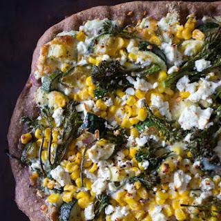 Zucchini Corn Feta Pizza