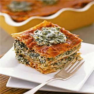 Vegan Tofu Spinach Lasagna.