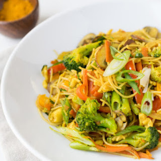 Curry Veggies and Rice Noodles.