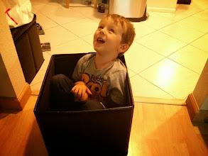 Photo: Finn in a box!