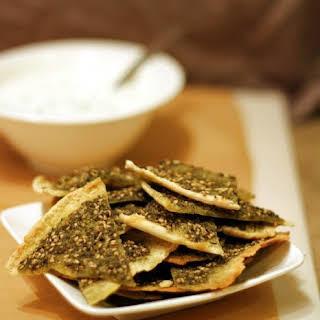 Za'atar Pita Chips with Yogurt Dip.