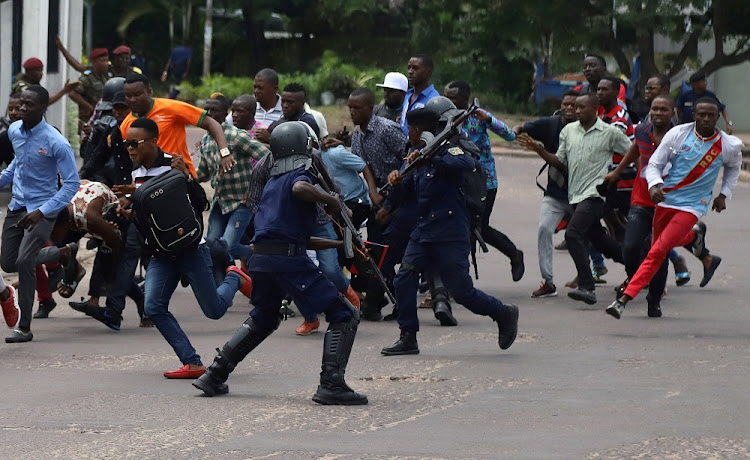 Congolese riot policemen disperse supporters of Martin Fayulu, runner-up in DRC's presidential election, in Kinshasa January 12 2019. Picture: REUTERS/KENNY KATOMBE