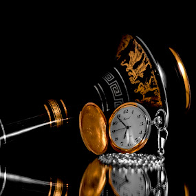 Time and a Bottle by Greg Bennett - Artistic Objects Still Life ( retirement watch, pocket watch, blue and gold, still life, watch, greece, black and whilt, athens, pottery, artistic objects,  )