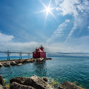 Pierhead Lighthouse by Brad Bellisle - Landscapes Waterscapes ( coast guard, sturgeon bay, lake michigan, door county, light house, lighthouse )