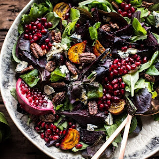 Winter Beet and Pomegranate Salad with Maple Candied Pecans + Balsamic Citrus Dressing..