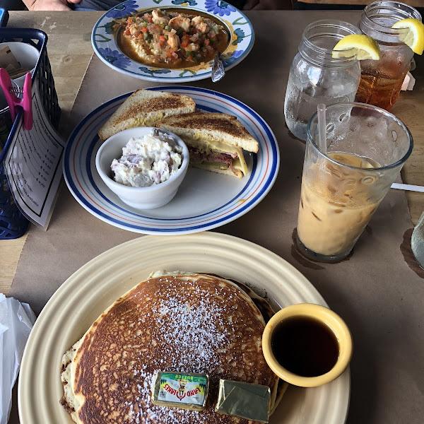 GF Shrimp and Grits, GF Cuban, GF Pancakes.