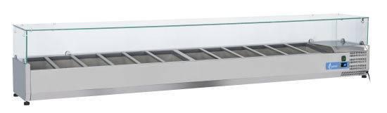 Opzetvitrine VRX2500(380) OPZETKOELING GN1/3 GLAS - 12 X GN1/3