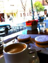 Photo: Enjoying an espresso and alfajores con dulche de leche.  Palermo Soho.