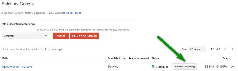 Bạn có thể Submit thông qua giao diện Search Console