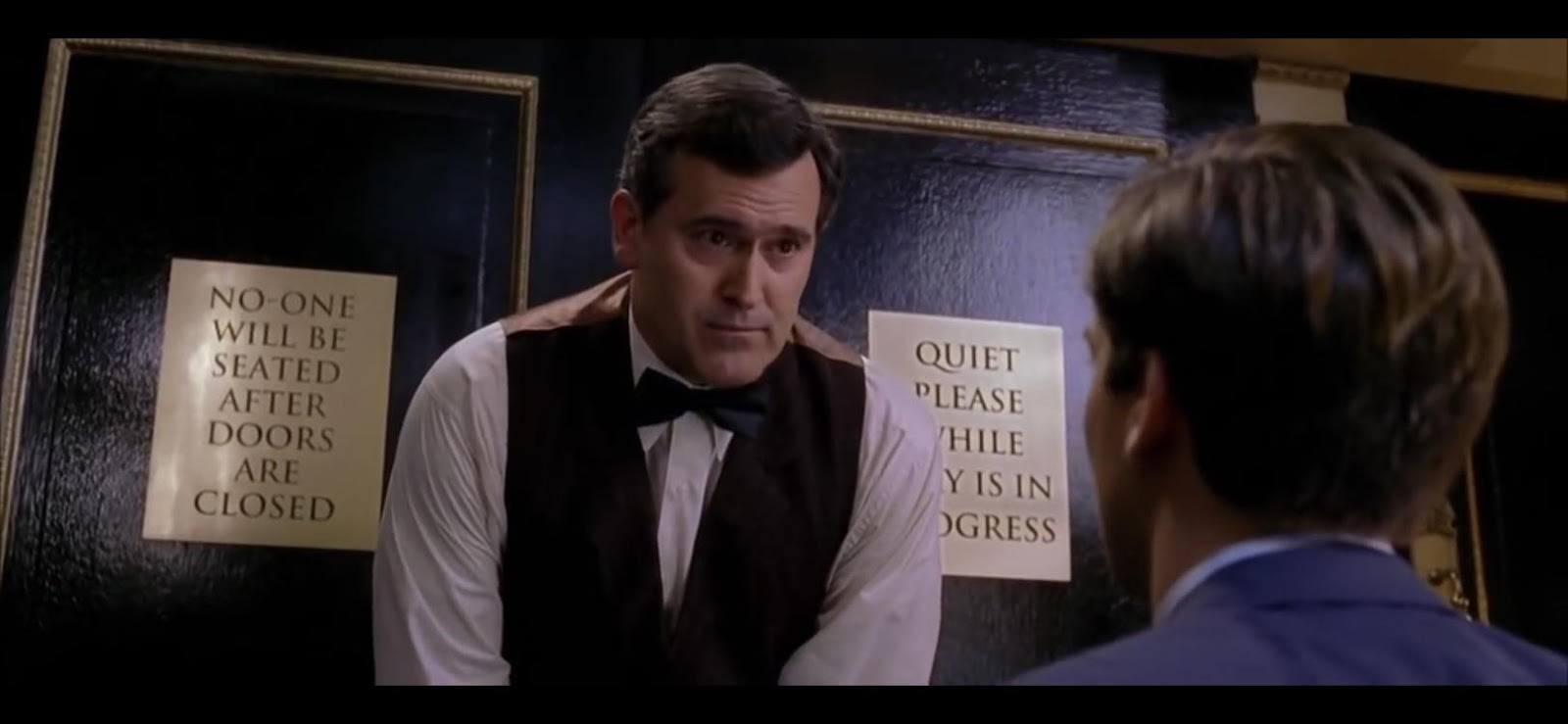 """In Sam Raimi's Spider-Man 2 (2004) Bruce Campbell portrays a snooty usher  at a play and says the line """"... it helps maintain the illusion"""". Bruce  Campbell was supposed to play the"""