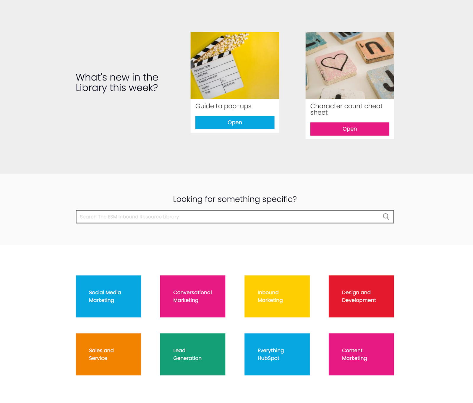 the library landing page
