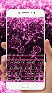 Sparkling Pink Neon Roses Keyboard 10001007 Download Mod Apk 3