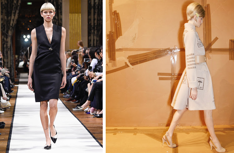 Left to right: Nina Milner walks for Lanvin and Moschino
