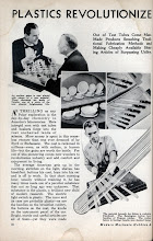 """Photo: Page from the Sept.1936 issue of Modern Mechanix - a US magazine shown in the website referred to on the previous page.  One quote from a later page of the article: """"Outwardly similar, they are chemically different. Lustrous, vari-colored Catalin, for instance, cannot take the place of Bakelite in telephone and radio; nor can black Bakelite replace Catalin in the construction of toilet articles and chessmen, where beauty is needed and dialectricity is not""""."""