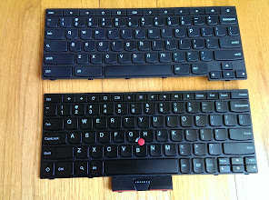 Photo: Keyboards: Thinkpad 11e on top, x131e on bottom.  I don't have a postal scale, but the keyboard assembly for the 11e feels almost twice as heavy as that on the x131e, even though the later has the Trackpoint with buttons. The entire keyboard is significantly stiffer, with a thicker metal frame all around the sides.