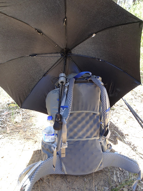 MYOG trekking umbrella mount on my Gossamer Gear Mariposa, works pretty well (only the set up takes a bit of patience)