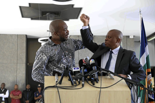 Former DA leader Mmusi Maimane, left, with Herman Mashaba after Mashaba's resignation as Johannesburg mayor and DA member. On Monday the DA's leader in Johannesburg, Funzela Ngobeni, announced his resignation and said he would be joining Mashaba's People's Dialogue. File photo