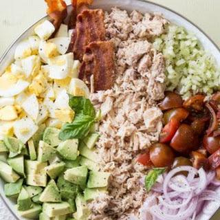 Chicken Avocado Egg Bacon Salad.