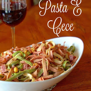 Tri Color Pasta with Chickpeas and Salami.