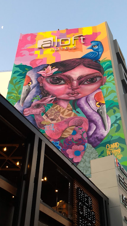 The incredible mural on the side of the Aloft Lima Miraflores Hotel. Photo by Shelley Seale.