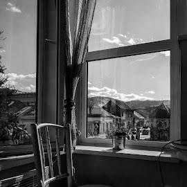 Lonely place by Aleksandar Serbedzija  - Black & White Objects & Still Life ( still, white, chair, peace, black, black and white, lonely, peaceful )