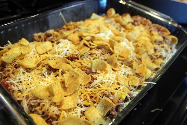 Corn chips sprinkled over casserole.