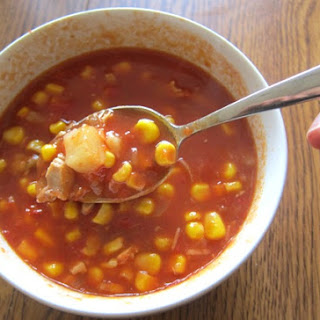 Corn, Chicken And Tomato Soup.