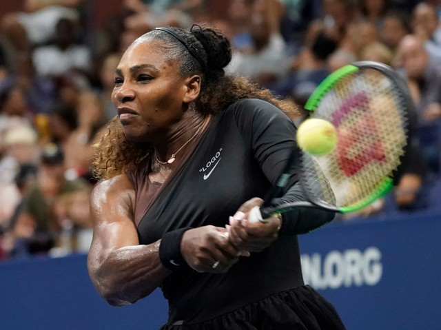 Serena Williams of the USA hits to Venus Williams of the USA (not pictured) in a third round match on day five of the 2018 US Open tennis tournament at USTA Billie Jean King National Tennis Center.