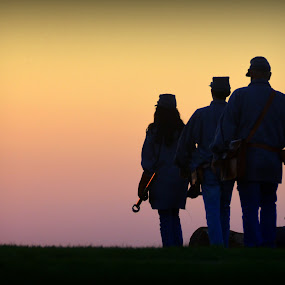 Bugle Call at Sunset by Michael Smith - People Street & Candids ( canon, bugle, reveille, sunset, bugle call, milita, military )