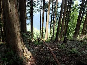 右の林道方面にモノレール